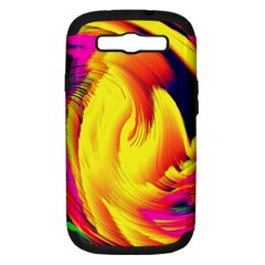 Stormy Yellow Wave Abstract Paintwork Samsung Galaxy S III Hardshell Case (PC+Silicone)