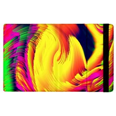 Stormy Yellow Wave Abstract Paintwork Apple iPad 2 Flip Case