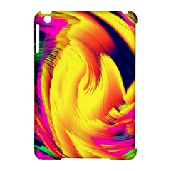 Stormy Yellow Wave Abstract Paintwork Apple Ipad Mini Hardshell Case (compatible With Smart Cover)