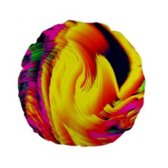 Stormy Yellow Wave Abstract Paintwork Standard 15  Premium Round Cushions