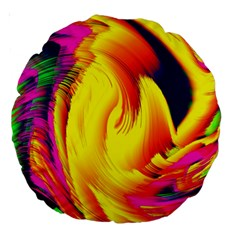 Stormy Yellow Wave Abstract Paintwork Large 18  Premium Round Cushions