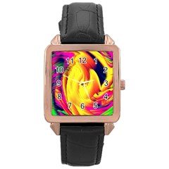 Stormy Yellow Wave Abstract Paintwork Rose Gold Leather Watch