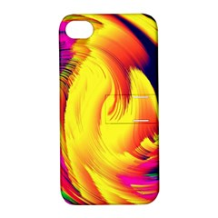 Stormy Yellow Wave Abstract Paintwork Apple iPhone 4/4S Hardshell Case with Stand