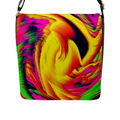 Stormy Yellow Wave Abstract Paintwork Flap Messenger Bag (L)