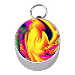 Stormy Yellow Wave Abstract Paintwork Mini Silver Compasses