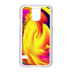Stormy Yellow Wave Abstract Paintwork Samsung Galaxy S5 Case (White)