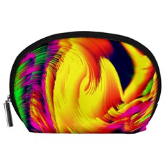 Stormy Yellow Wave Abstract Paintwork Accessory Pouches (Large)