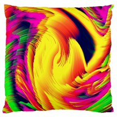 Stormy Yellow Wave Abstract Paintwork Large Flano Cushion Case (Two Sides)