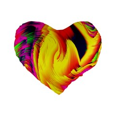 Stormy Yellow Wave Abstract Paintwork Standard 16  Premium Flano Heart Shape Cushions