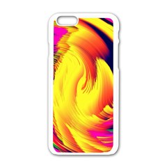 Stormy Yellow Wave Abstract Paintwork Apple iPhone 6/6S White Enamel Case