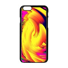 Stormy Yellow Wave Abstract Paintwork Apple iPhone 6/6S Black Enamel Case