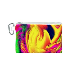 Stormy Yellow Wave Abstract Paintwork Canvas Cosmetic Bag (S)