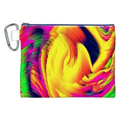 Stormy Yellow Wave Abstract Paintwork Canvas Cosmetic Bag (XXL)