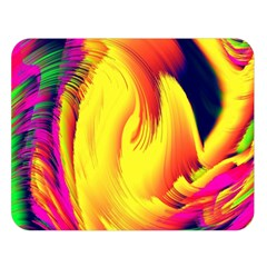 Stormy Yellow Wave Abstract Paintwork Double Sided Flano Blanket (Large)