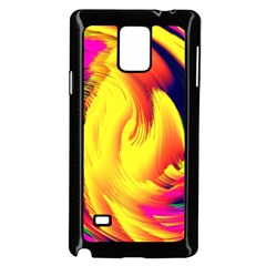 Stormy Yellow Wave Abstract Paintwork Samsung Galaxy Note 4 Case (Black)