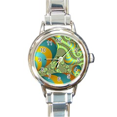 Gold Blue Fractal Worms Background Round Italian Charm Watch