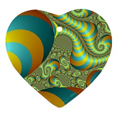 Gold Blue Fractal Worms Background Ornament (Heart)