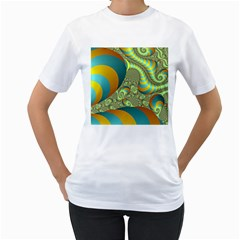 Gold Blue Fractal Worms Background Women s T Shirt (white) (two Sided)