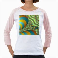 Gold Blue Fractal Worms Background Girly Raglans