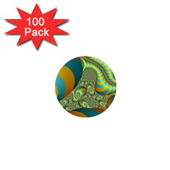 Gold Blue Fractal Worms Background 1  Mini Buttons (100 Pack)
