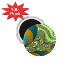 Gold Blue Fractal Worms Background 1.75  Magnets (100 pack)