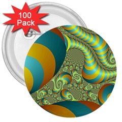 Gold Blue Fractal Worms Background 3  Buttons (100 Pack)