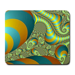 Gold Blue Fractal Worms Background Large Mousepads