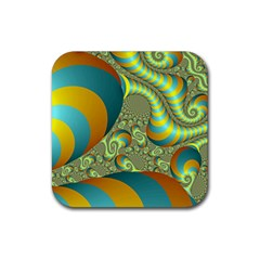 Gold Blue Fractal Worms Background Rubber Square Coaster (4 Pack)