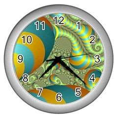 Gold Blue Fractal Worms Background Wall Clocks (silver)