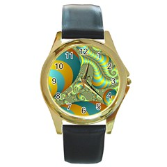 Gold Blue Fractal Worms Background Round Gold Metal Watch