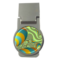 Gold Blue Fractal Worms Background Money Clips (round)