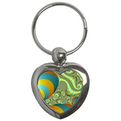 Gold Blue Fractal Worms Background Key Chains (Heart)