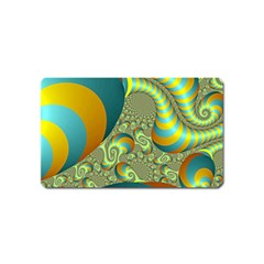 Gold Blue Fractal Worms Background Magnet (name Card)
