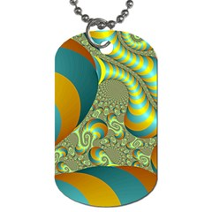 Gold Blue Fractal Worms Background Dog Tag (Two Sides)