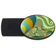 Gold Blue Fractal Worms Background USB Flash Drive Oval (2 GB)