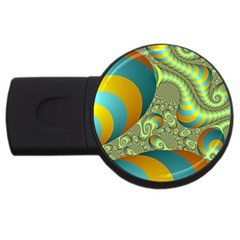 Gold Blue Fractal Worms Background USB Flash Drive Round (4 GB)