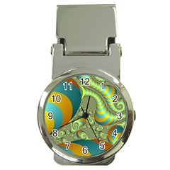 Gold Blue Fractal Worms Background Money Clip Watches
