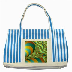 Gold Blue Fractal Worms Background Striped Blue Tote Bag