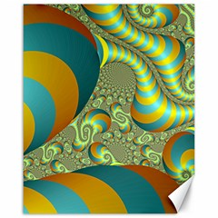 Gold Blue Fractal Worms Background Canvas 16  X 20