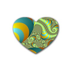 Gold Blue Fractal Worms Background Rubber Coaster (Heart)