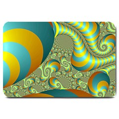 Gold Blue Fractal Worms Background Large Doormat