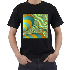Gold Blue Fractal Worms Background Men s T Shirt (black)