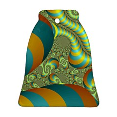 Gold Blue Fractal Worms Background Bell Ornament (two Sides)