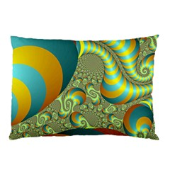Gold Blue Fractal Worms Background Pillow Case (Two Sides)