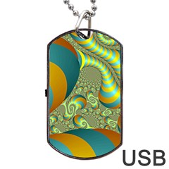 Gold Blue Fractal Worms Background Dog Tag USB Flash (Two Sides)