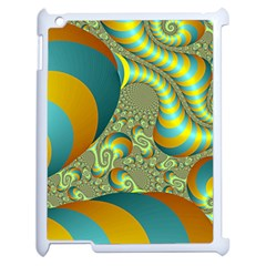 Gold Blue Fractal Worms Background Apple iPad 2 Case (White)