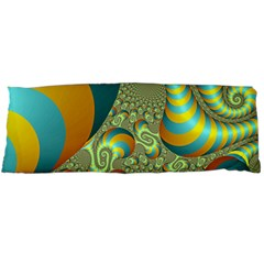 Gold Blue Fractal Worms Background Body Pillow Case Dakimakura (Two Sides)