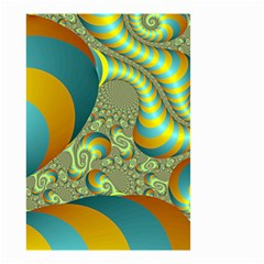 Gold Blue Fractal Worms Background Small Garden Flag (Two Sides)