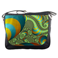 Gold Blue Fractal Worms Background Messenger Bags