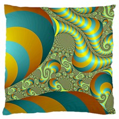 Gold Blue Fractal Worms Background Large Cushion Case (one Side)